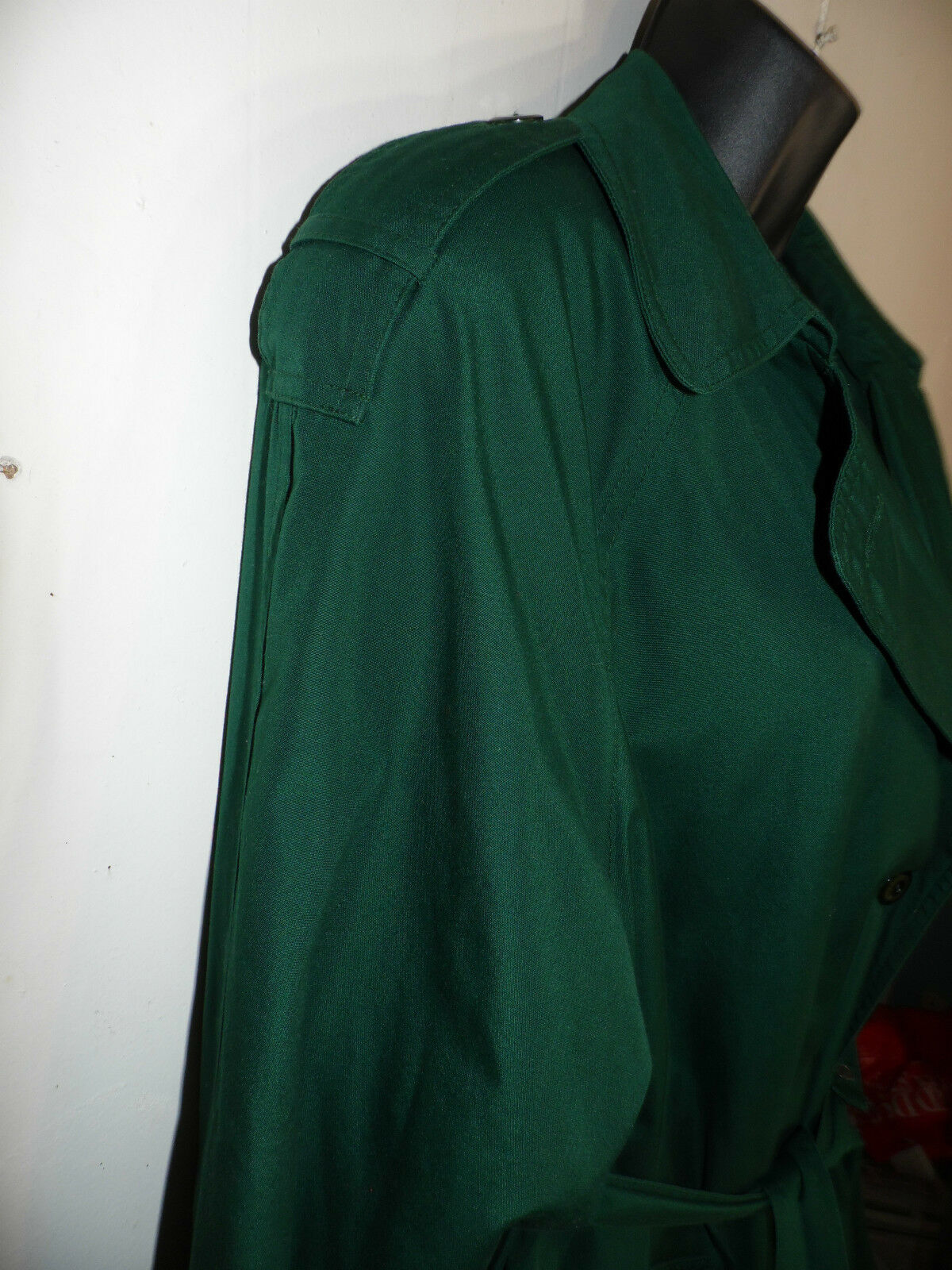 F.S.L. Trench Coat Deep Deep Deep Green 10 P Petite  Removable Lining Double Breasted e7bd79