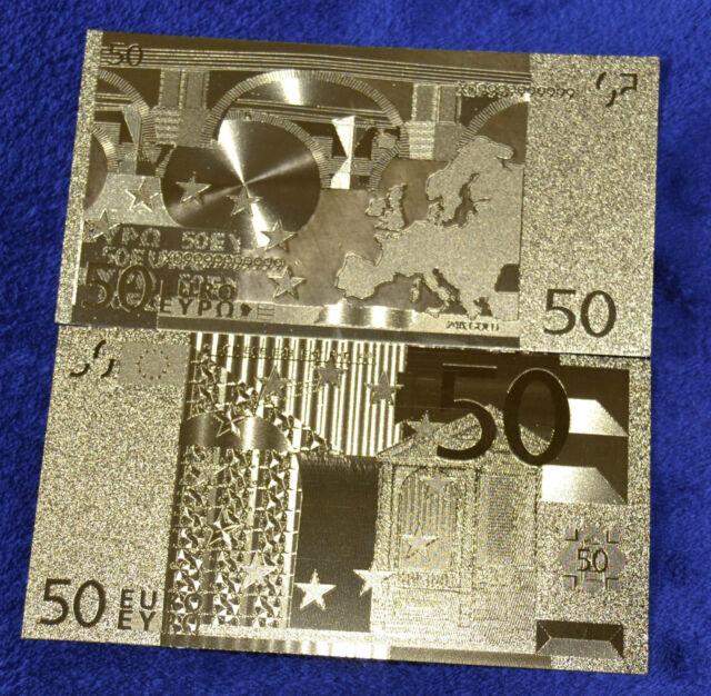 50 Euro Banknote Geldschein in Gold Originalgröße Goldfolie mit Zertifikat