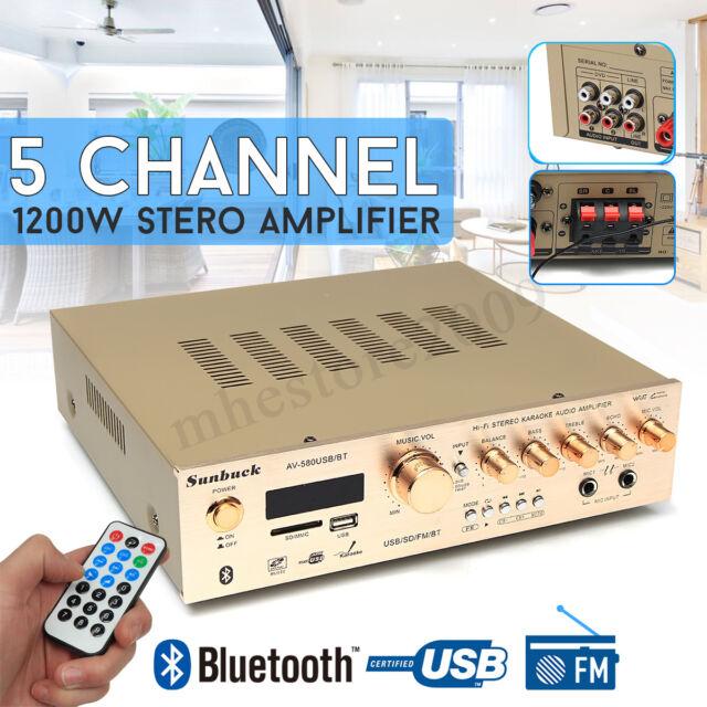 1200W bluetooth Stereo Amplifier Digital Tuner 5 Channel FM USB SD Mic