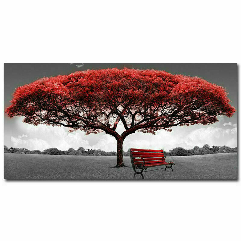 Modern Red Tree Canvas Oil Painting Wall Art Sticker Home Picture Print Decor