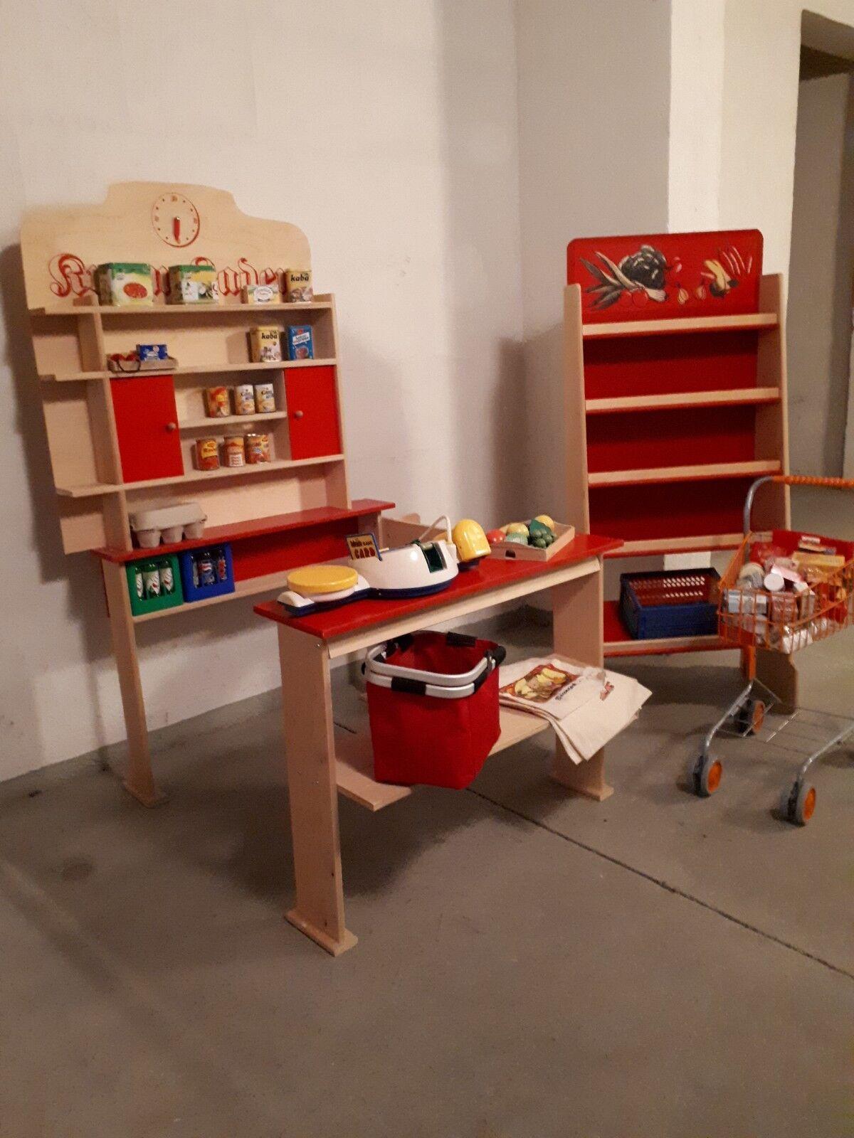 Kaufladen aus Holz - Sehr guter Zustand + viel Zubehöhr