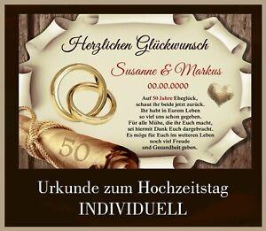 Details Zu Schild Geschenk Goldene Hochzeit 50 Jahre Individuell Namen Datum A4