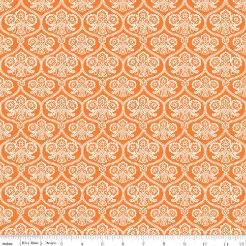 1//2 Yard Riley Blake Happy Haunting Damask Orange 100/% Cotton C4671-ORANGE