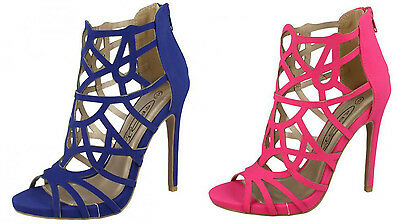 2 Colours! F10414 Ladies High Heel Strappy Cut Out Design Sandals