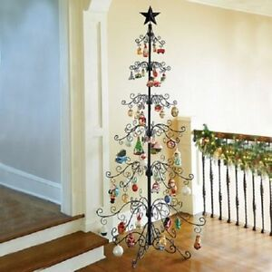 "Metal Scroll 108"" Christmas Ornament Display Tree in Black ..."