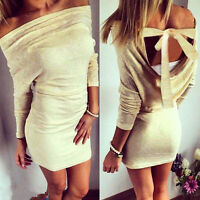Women Sexy Backless Bodycon Pencil Cocktail Party Evening Long Sleeve Mini Dress