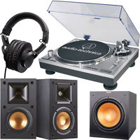 Audio-Technica AT-LP120-USB Direct Drive Professional Turntable + Speakers + Subwoofer + Headphones