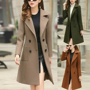 Fashion-Womens-Winter-Lapel-Button-Long-Trench-Coat-Jacket-Overcoat-Outwear