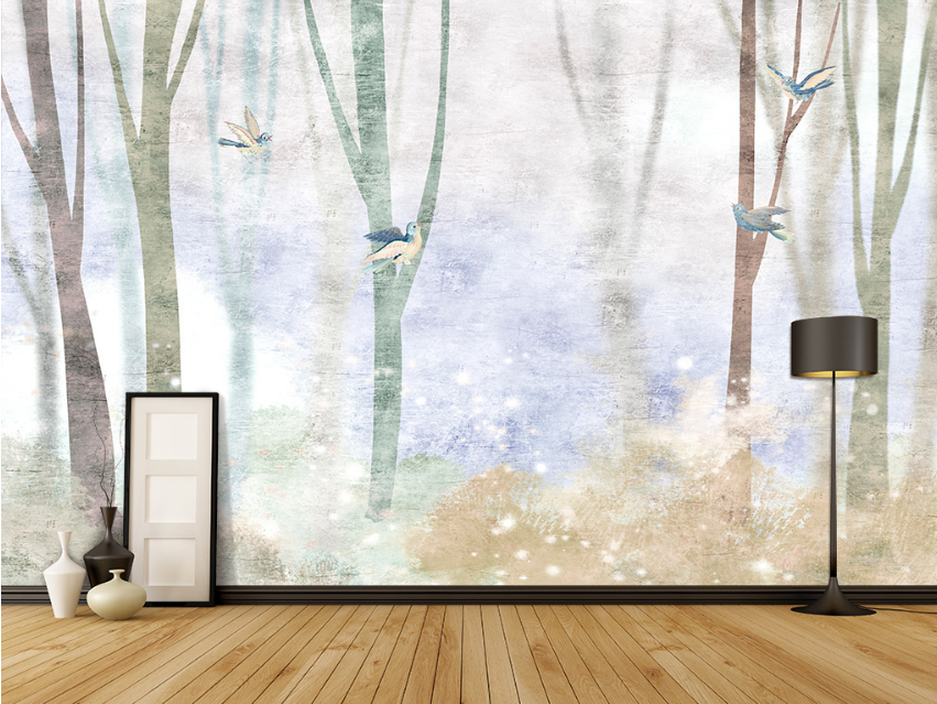 3D Weiß Mist Forest Trunk 1 Paper Wall Print Wall Decal Wall Deco Indoor Murals