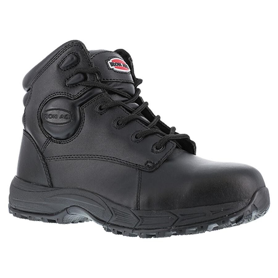 Iron IA5150 para hombre suelo acabado Age 6  Sport botas De Trabajo Puntera De Acero Cuero Negro