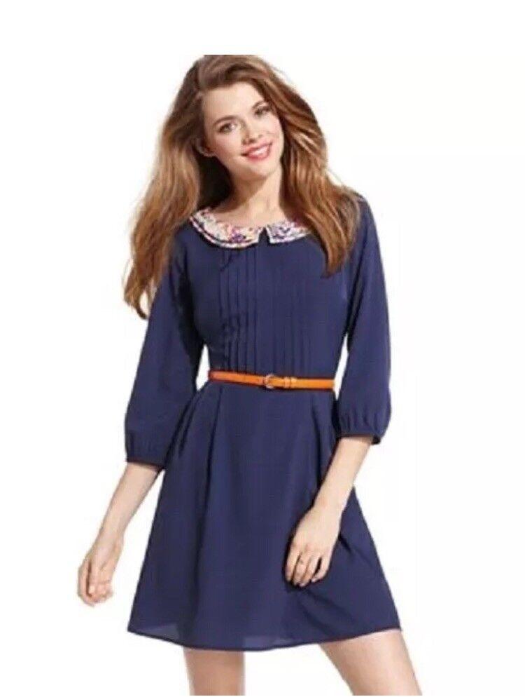 a4d2145bf2c NEW Gorgeous Navy Cat s Meow Dress With orange Belt Jessica Simpson Size 1 2