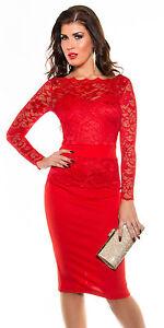 BANDTILECocktailkleid 38 M rot Spitze Pencil Etuileid Abendkleid Kleid Top