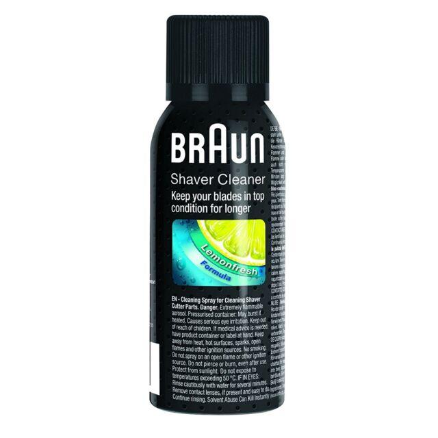 Braun líquido espray desinfección limpieza olio mantenimiento cuidado rasuradora