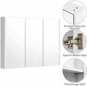 Bathroom Mirror Medicine Cabinet 36 Wide Wall Mounted 3 Doors Adjustable Shelf Ebay