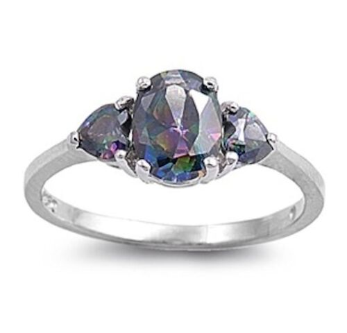 3 Stone Rainbow Topaz Ring Sterling Silver