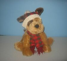So Soft Tan Puppy Dog in Plaid Hat Scarf Stuffed Plush Cuddle Animal by Hugfun