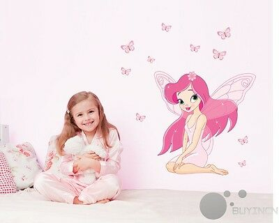 Removable Wall Sticker pink faery girl baby nursery kids room decor decals mural