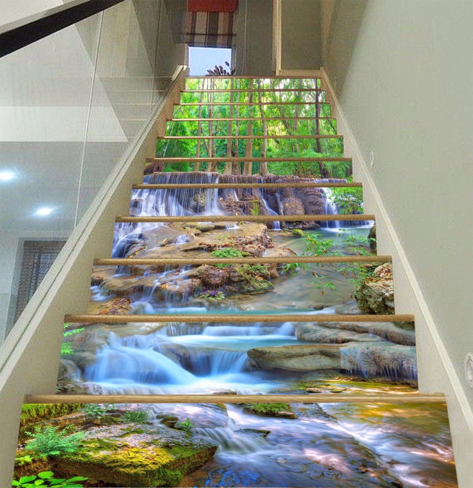 3D Forest Creek 152 Risers Decoration Photo Mural Vinyl Decal Wallpaper CA