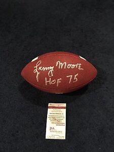 Lenny Moore Signed Full Size Football, JSA, HOF Inscription Colts