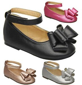 88db5e8932 Details about Kids Girls Ribbon Bow Round Toe Mary Jane Ankle Strap Ballet  Shoes Flats 11 to 4