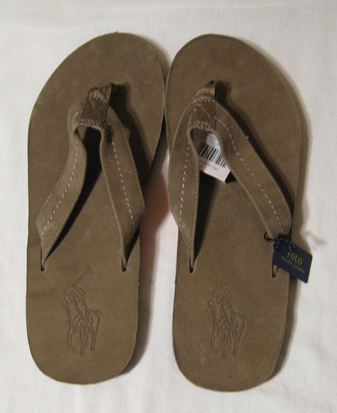 Polo Ralph Lauren Men's Leather Suede Big Pony Sandals Flip Flops NWT Olive