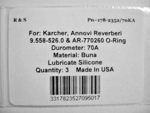 3 Karcher 9.558-526.0 //AR-770260 //O-Ring //23.52 X 1.78 NBR 70 //R/&S 178-2352//70KA