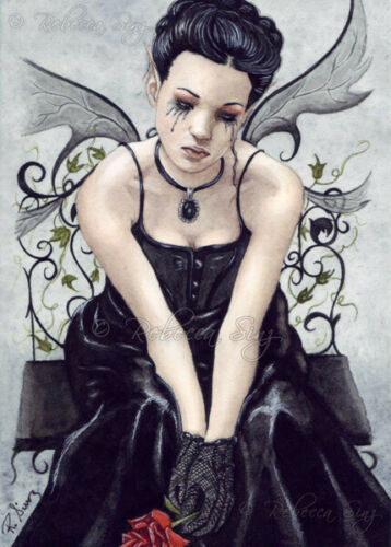 Gothic Fairy Fantasy Art PRINT Victorian Rose Tears Corset Ivy Sad Goth Black