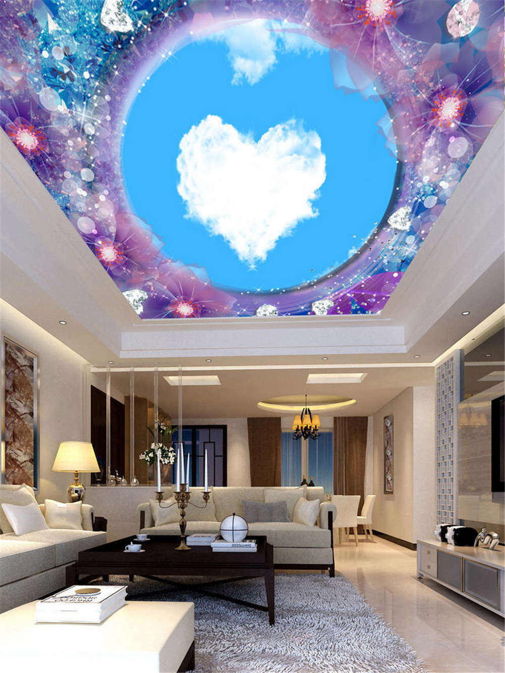 Superior Fade Heart 3D Ceiling Mural Full Wall Photo Wallpaper Print Home Decor