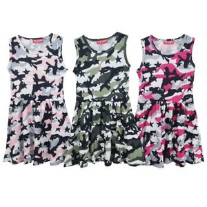Girls-Skater-Dress-New-Kids-Sleeveless-Party-Fit-amp-Flare-Dresses-Ages-2-12-Years