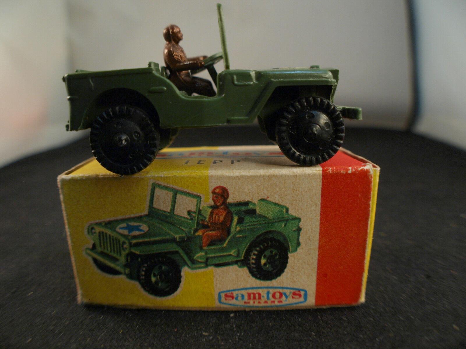 Sam toys italy   437 military jeep jepp plastic us new in box 7 cm rare