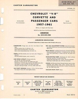 1958 61 AUXILARY AIR VALVE KIT 2613S 2614S CARTER DUAL QUAD 270 HP DOES 2 CARBS