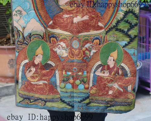 "36/"" Tibet Buddhism Silk Cloth Tsongkhapa Buddha Thangka Painting Mural 03"
