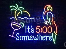 "New It's 5:00 Somewhere Parrot Beer Bar Neon Sign 19""x15"" Ship From USA"