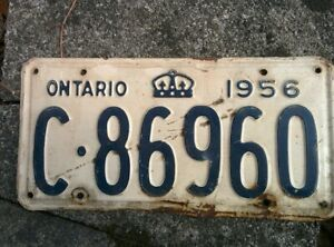 Vintage 1956 Ontario ON Canada Vehicle License Plate Blue White ~ POOR c 86960