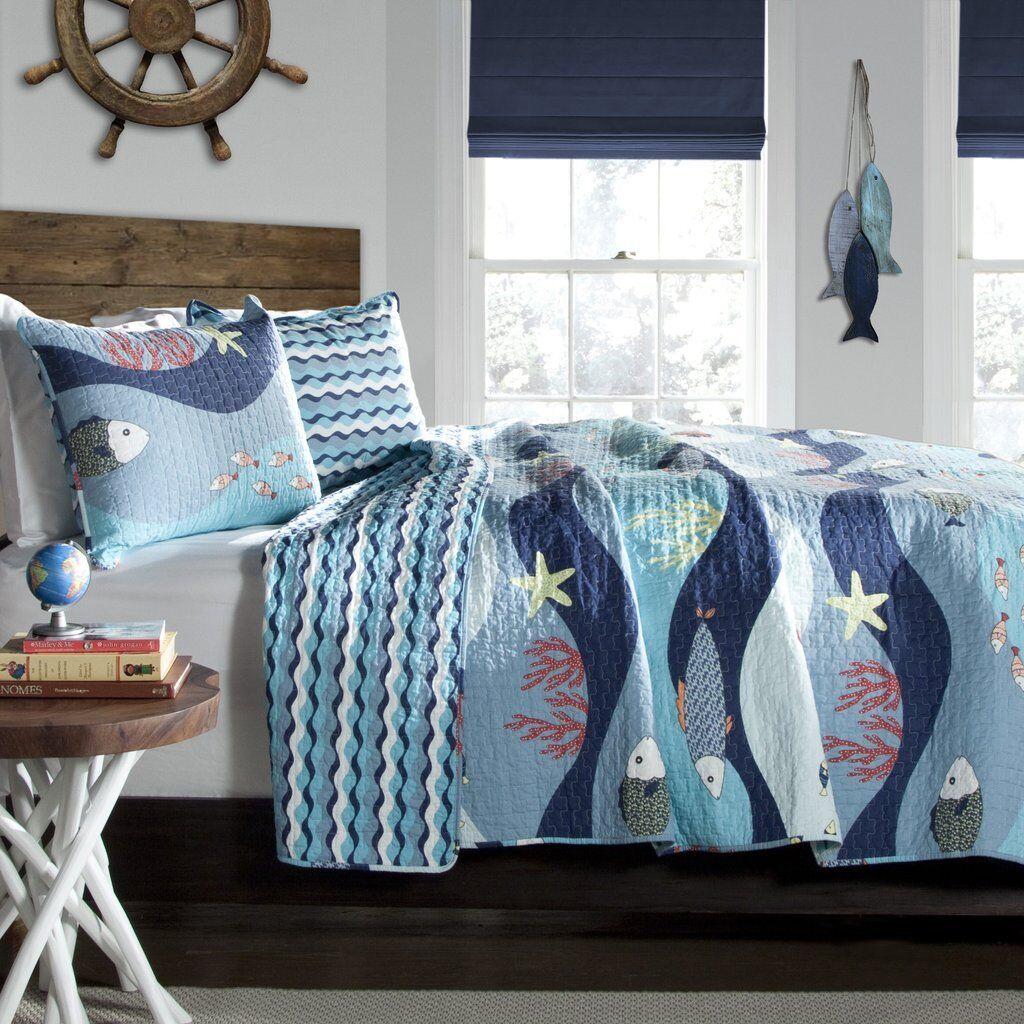 3p SEA LIFE Queen Quilt Set reversible Aqua blueeeeee Fish Beach Bedding Ocean Shore