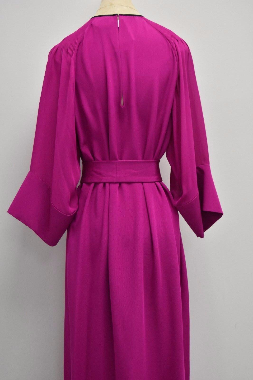 3590 New Oscar de la Renta Magenta Purple Purple Purple Embroidered SILK CAFTAN Floral S 80325d