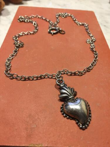 sacro cuore collana pendolo Vintage ex voto barocco ReturnToBaroque fiamma