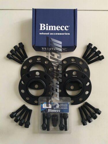 2x15mm Black Alloy Wheel Spacers Black Bolts Locks BMW F30 F31 F32 F33 2x12mm