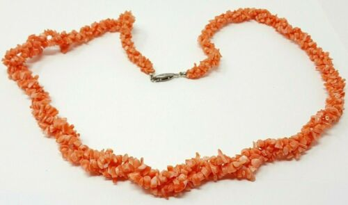 Natural Choker Deep Salmon Branch Sticks Double Strand Vintage Jewelry Coral short Necklace