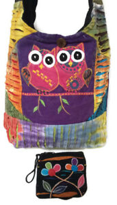 HOBO-BAG-amp-COIN-PURSE-Owls-Patchwork-Hippie-Cross-Body-Sling-RISING-INT-039-L-Nepal