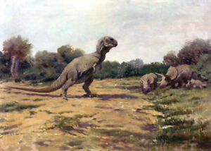 Tyrannosaurus-by-Charles-R-Knight-Handmade-Oil-Painting-Reproduction-on-Canvas