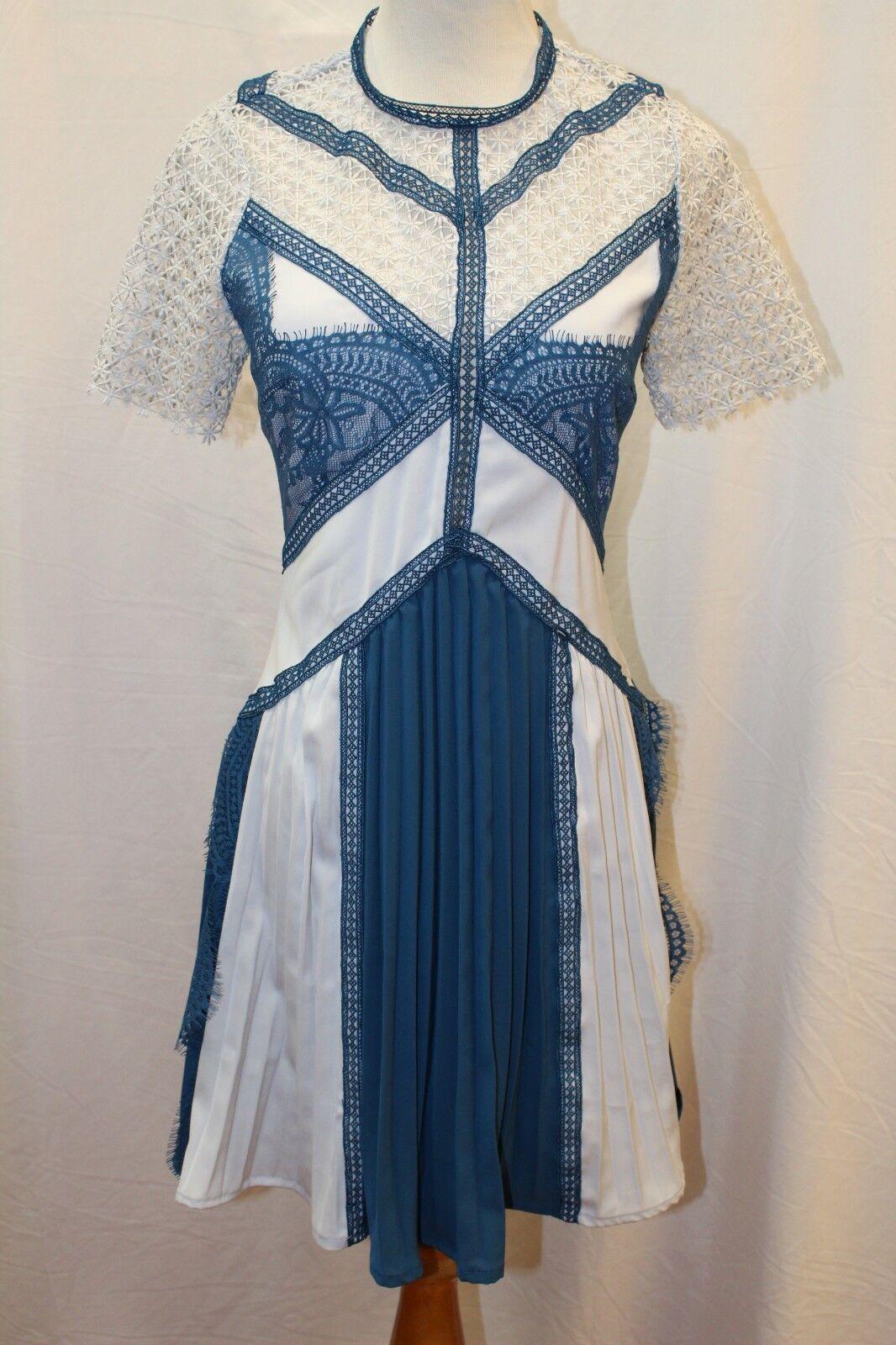 NEW Self-Portrait Lace Panel Mini bluee bluee bluee Short Sleeve Dress US 4 S Small 814008