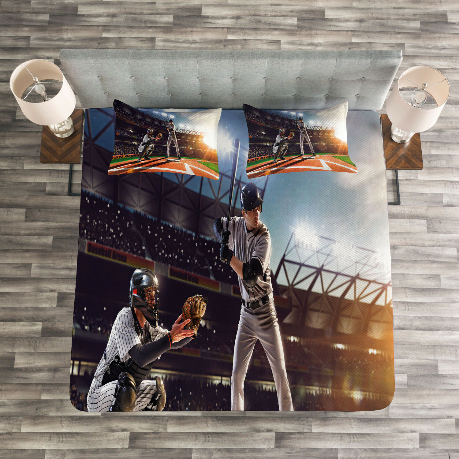 Teen Room Quilted Bedspread & Pillow Shams Set, Baseball Player Game Print