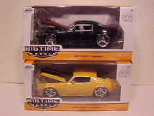 Pack of 2 Chevy Camaro 1971 Die-cast Car 1:24 Jada Toys 8 inch Rims Yellow Black