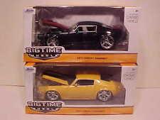 Pack of 2 Chevy Camaro 1971 Die-cast Car 1:24 Jada Toys 8 inch Rims Yellow Black