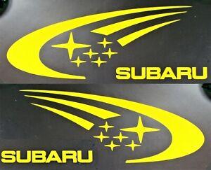 SUBARU-Decal-Sticker-2X-YELLOW-STI-7-5in-IMPREZA-WRX-Rally-WRC-JDM-Racing