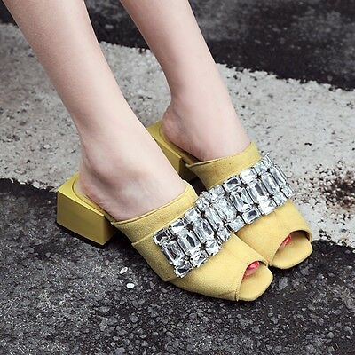 Chic Womens Open Toe Block Heel Rhinestone Slides Suede Shoes Slippers Plus Size