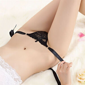 Thongs-Women-Sexy-Panties-G-String-Solid-Ribbon-Bow-Girl-Sexy-T-string-Women