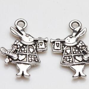 10Pcs-Alice-in-Wonderland-Rabbit-Charm-Tibet-Silver-Pendants-Jewelry-Findings