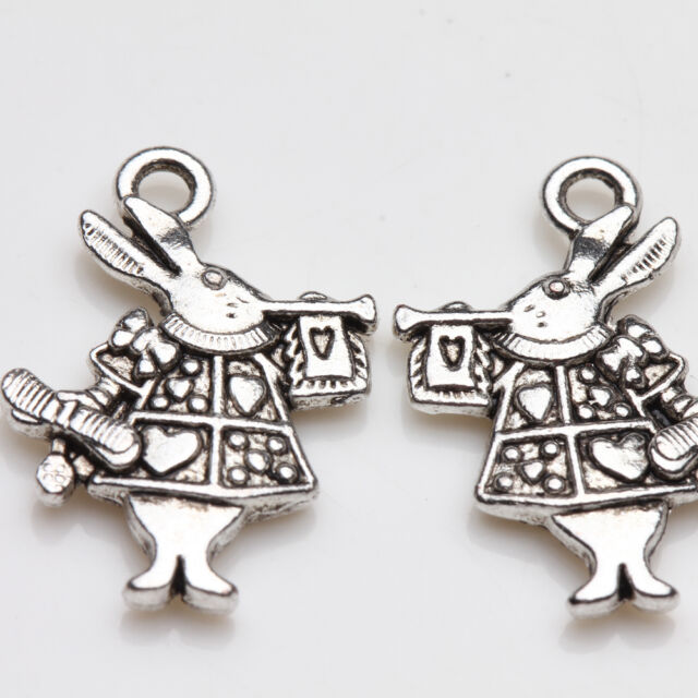 10Pcs Tibet Silver Rabbit Charms Pendant Drop Jewelry Findings Making Craft DIY